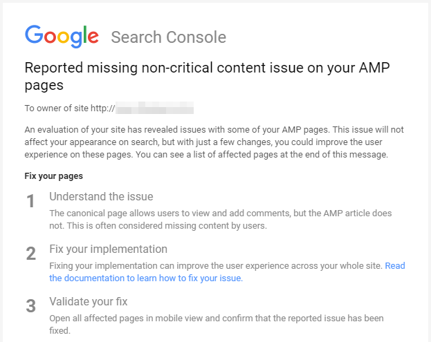Reported missing non-critical content issue on your AMP pages