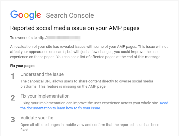 Reported social media issue on your AMP pages