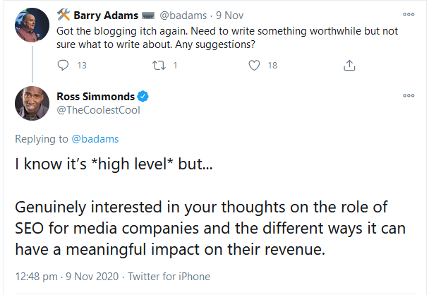 Ross Simmonds reply on Twitter